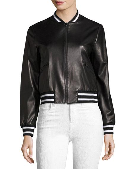 Demia Embellished Leather Bomber Jacket