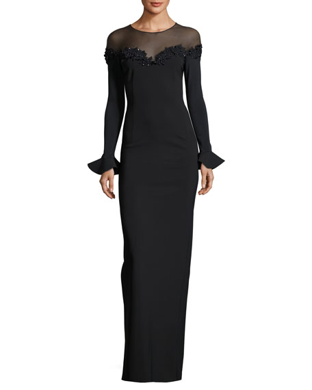 Rickie Freeman for Teri Jon Trumpet-Sleeve Column Gown