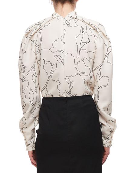 Draped High Neck Long-Sleeve Printed Blouse