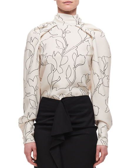 Carven Draped High Neck Long-Sleeve Printed Blouse