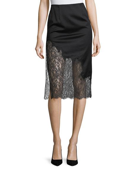 Evana Side-Slit Midi Skirt w/ Lace