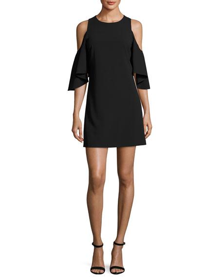 Coley Cold-Shoulder Jewel-Neck A-line Cocktail Dress