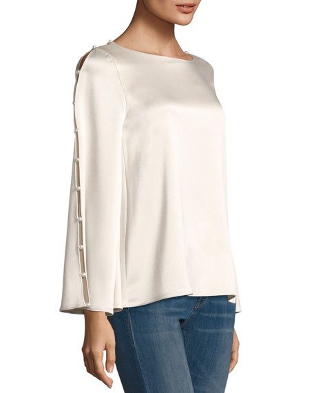 Genia Bell-Sleeve Pearlescent Trim Top