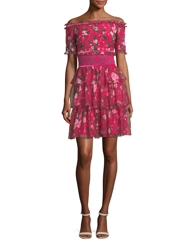 774c23e81334 Tadashi ShojiOff-Shoulder Short-Sleeve Floral-Print Tiered Cocktail Dress