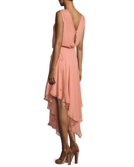 Anastasia Draped Chiffon Dress W/ Asymmetric Hem