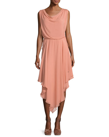 Haute Hippie Anastasia Draped Chiffon Dress W/ Asymmetric