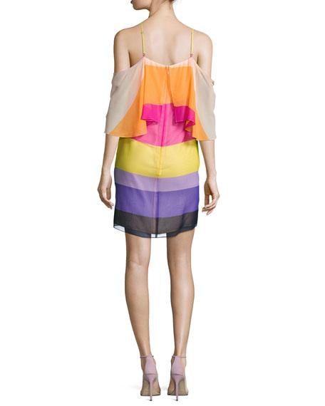 Butterfly Cold-Shoulder Striped Silk Popover Dress