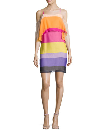 Trina Turk Butterfly Cold-Shoulder Striped Silk Popover Dress