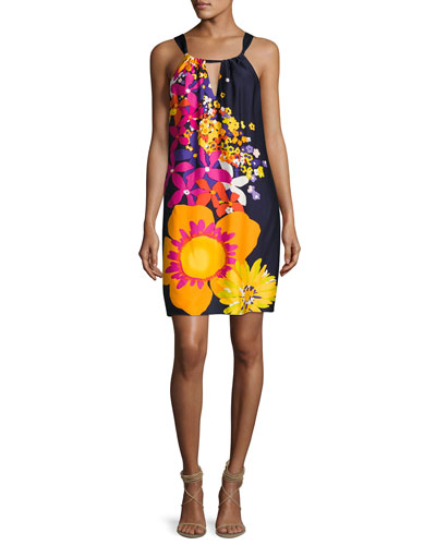 Roe Halter-Neck Floral-Print Shift Dress