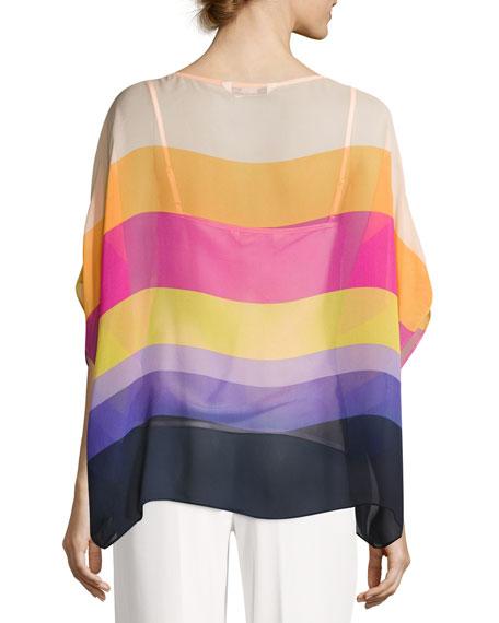 Marlette Sheer Striped Silk Blouse