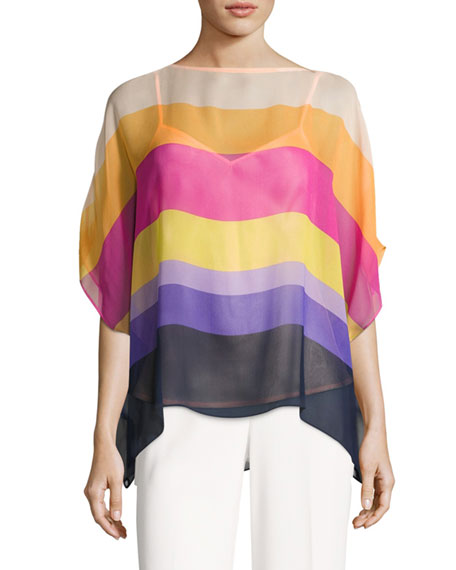 Trina Turk Marlette Sheer Striped Silk Blouse