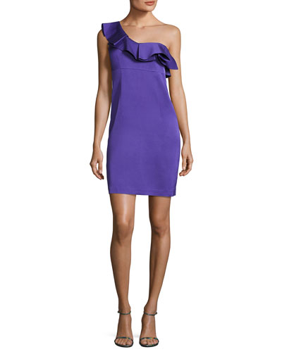 Intrigue Ruffled One-Shoulder Sheath Dress
