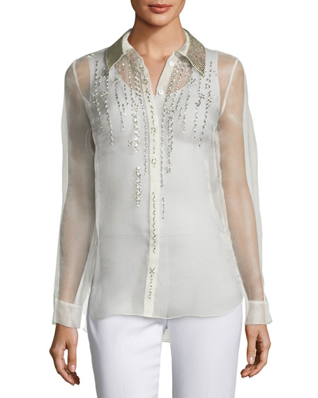 Elie Tahari Martha Beaded Silk Chiffon Blouse w/