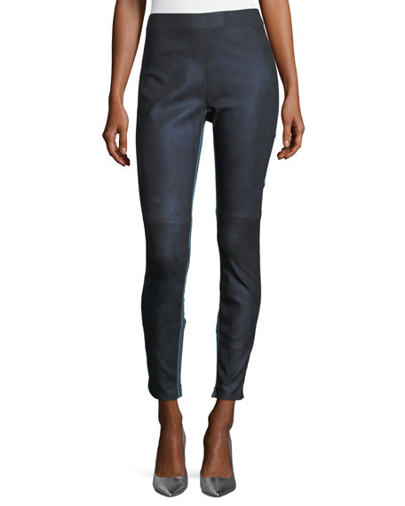 Elie Tahari Roxanna Skinny Denim-Effect Leather Pants and