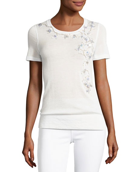 Elie Tahari Holden Short-Sleeve Floral-Embroidered Cashmere Sweater