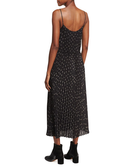 Tossed Ditsy-Floral Pleated Cami Maxi Dress