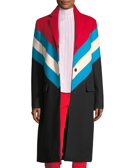 Chevron Snap-Front Wool-Knit Overcoat