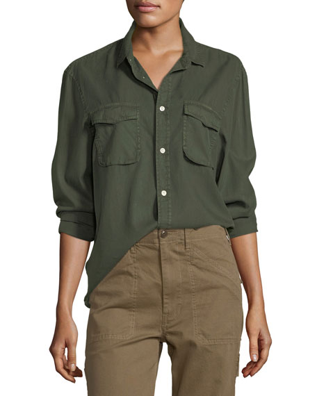 Vince Long-Sleeve Button-Front Utility Shirt