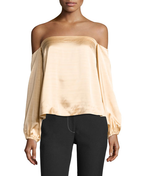 Nolita Long-Sleeve Off-the-Shoulder Satin Top