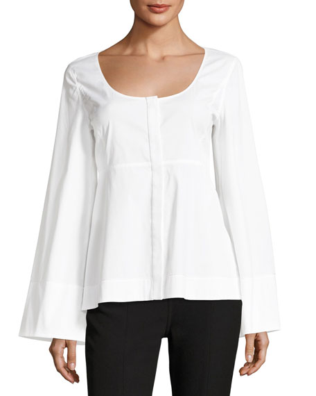 Elizabeth and James Carlos Wide-Sleeve Circle-Neckline Poplin Top