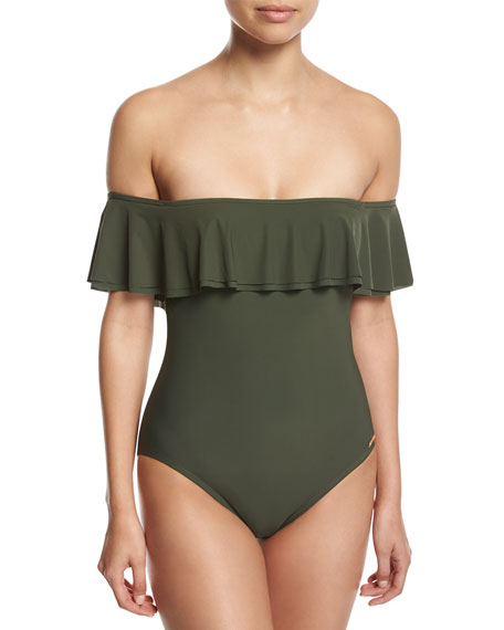 Off-the-Shoulder One-Piece Swimsuit, Green