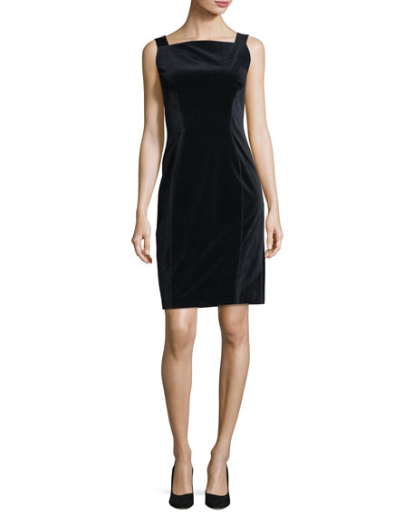 Elie Tahari Evra Square-Neck Velvet Dress w/ Leather