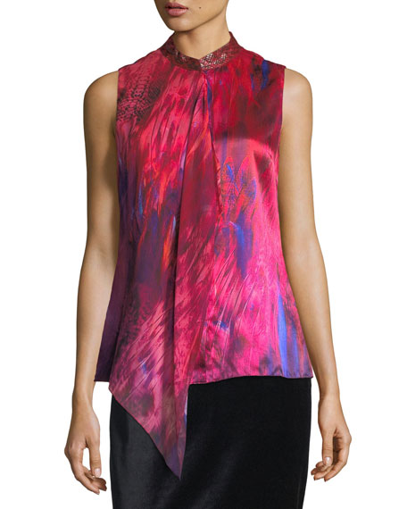 Elie Tahari Faya Sleeveless Silk Blouse w/ Leather