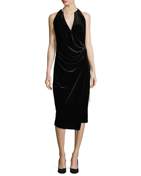 Elie Tahari Belecia Sleeveless Faux-Wrap Velvet Dress, Black