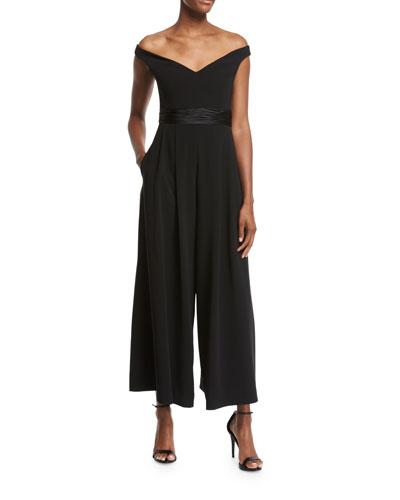 Vina Off-the-Shoulder Crepe Jumpsuit, Black