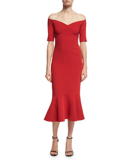 Marta Off-the-Shoulder Peplum-Hem Midi Dress, Red