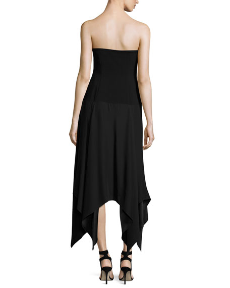 Strapless Handkerchief-Hem Midi Dress, Black