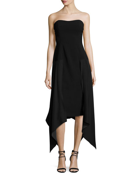 Strapless Handkerchief-Hem Midi Dress, Black