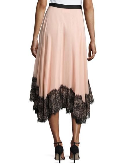 Kaya Chiffon Lace Midi Skirt, Pink Black Multi