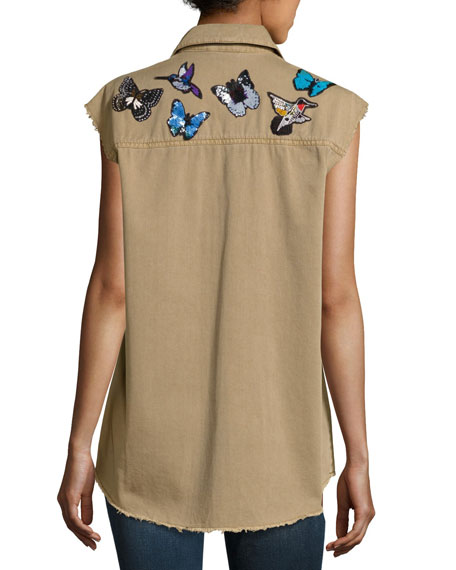 Canyon Embellished Button-Front Vest, Neutral Pattern