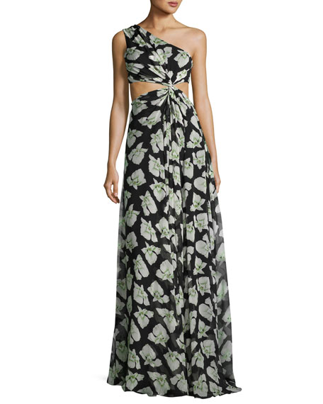 Goldie Floral-Print One-Shoulder Maxi Dress, Black