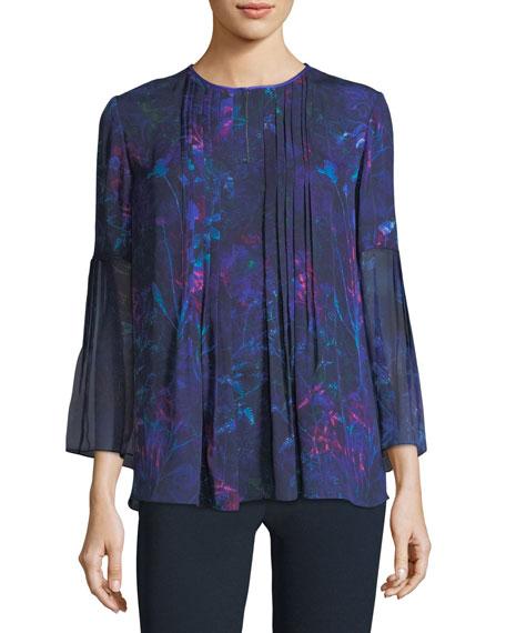 Elie Tahari Orion 3/4-Sleeve Floral-Print Silk Blouse