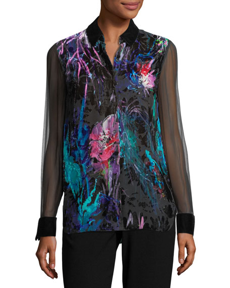 Elie Tahari Martha Long-Sleeve Floral Velvet Blouse