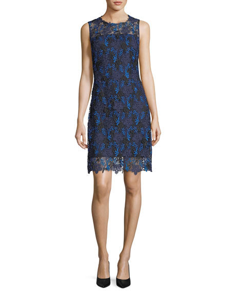 Elie Tahari Ophelia Sleeveless Floral Lace Dress