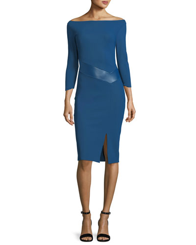 Alkestis 3/4-Sleeve Bateau-Neck Cocktail Dress w/ Faux Leather Trim