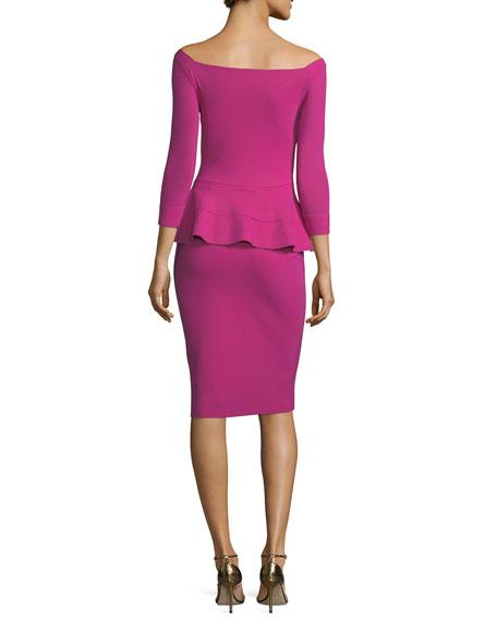 Sina Zigzag Off-the-Shoulder Peplum Cocktail Dress