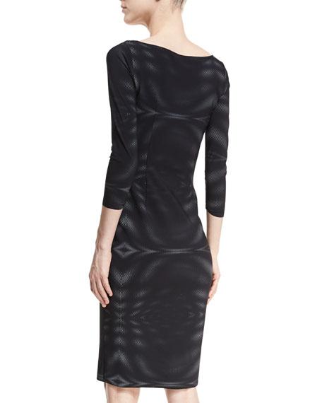 Arethusa 3/4-Sleeve V-Neck Bonded Mesh Cocktail Dress
