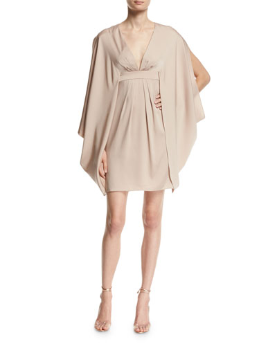 V-Neck Stretch-Silk Kimono Dress