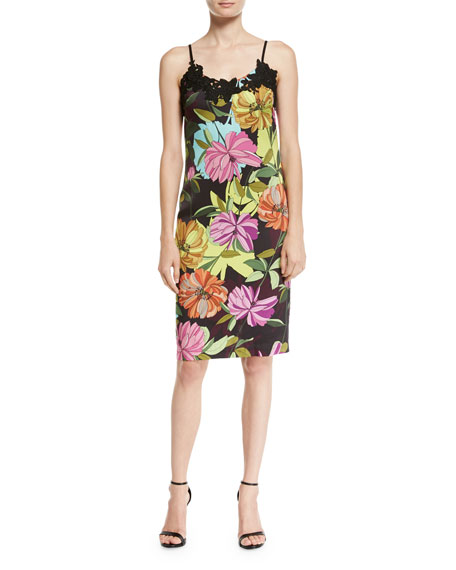 Trina Turk Dahlia Dell Sleeveless Floral-Print Slip Dress