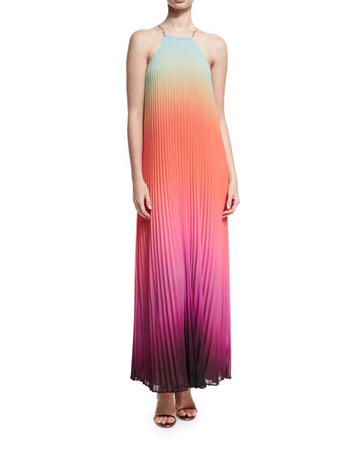 Trina Turk Sleeveless Halter Sunset Ombre Pleated Maxi Dress