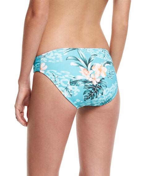 Pacifico Ruched-Side Retro Swim Bikini Bottoms