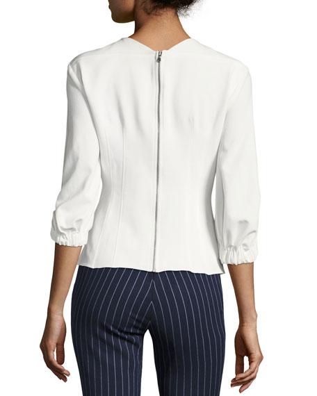 Back-Zip Three-Quarter Sleeves Twill Corset Top