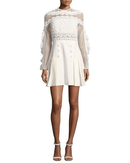 Bellis Mesh Long-Sleeve Lace-Trim Cocktail Dress