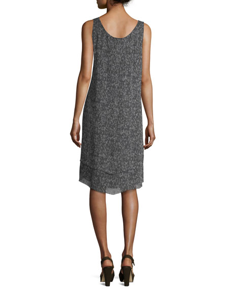 Sleeveless Crinkle Silk Shift Dress, Petite