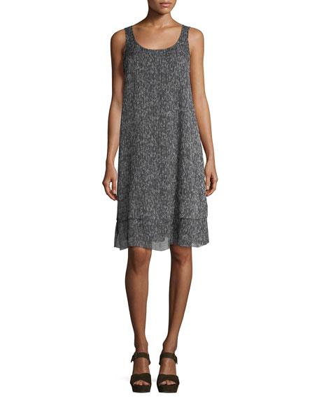 Sleeveless Crinkle Silk Shift Dress, Petite