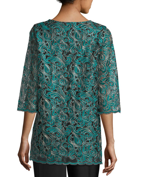 Lux Embroidered Tunic, Petite